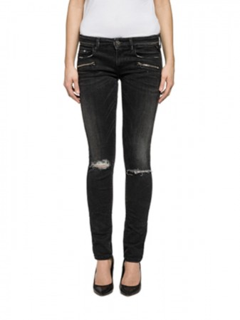 Replay Damen Jeans Brigidot Destroyed - Skinny Fit - Schwarz - Black Denim