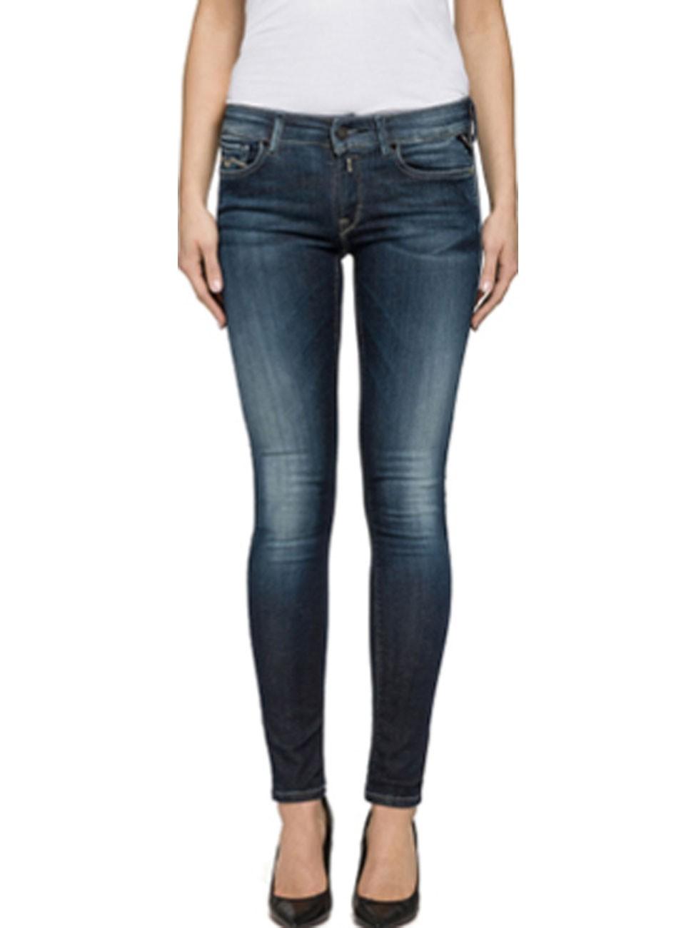 replay damen jeans luz skinny fit blau blue denim. Black Bedroom Furniture Sets. Home Design Ideas