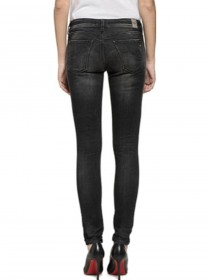Replay Damen Jeans Luz - Skinny Fit - Schwarz - Black Denim