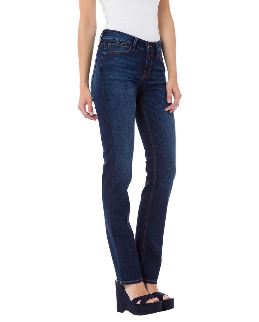 Cross Damen Jeans Rose - Regular Fit - Blau - Dark Blue