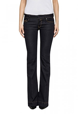 Replay Damen Jeans Teena - Flare Fit - Blau - Dark Blue Denim