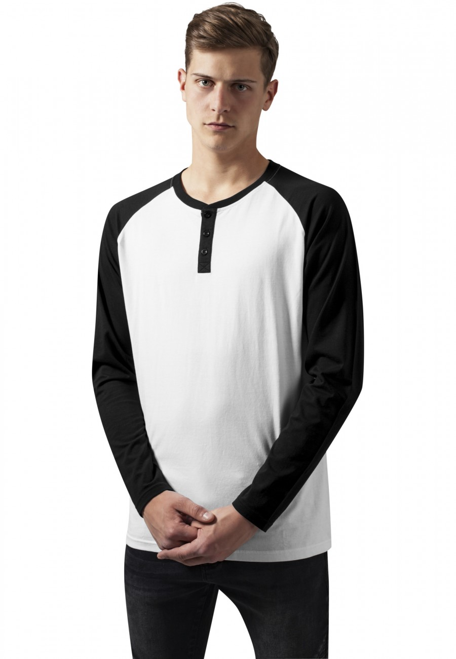 Urban Classics Herren Contrast Raglan Henley L/S Shirt