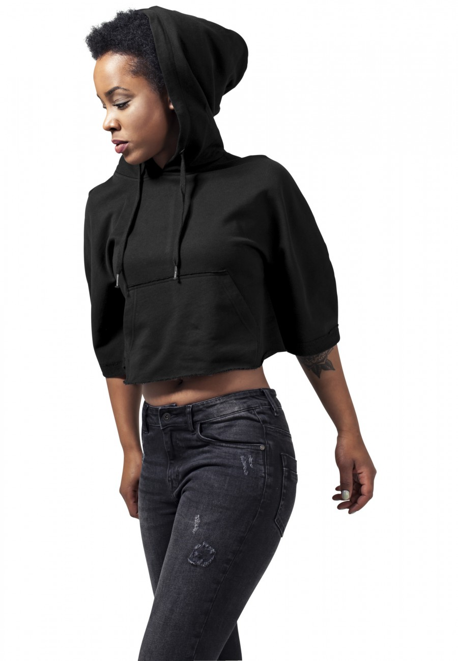 Urban Classics Damen Poncho Cropped Hooded XL, Black (00007)