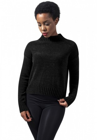 Urban Classics Damen Sweater Ladies Chenille Turtleneck Crew