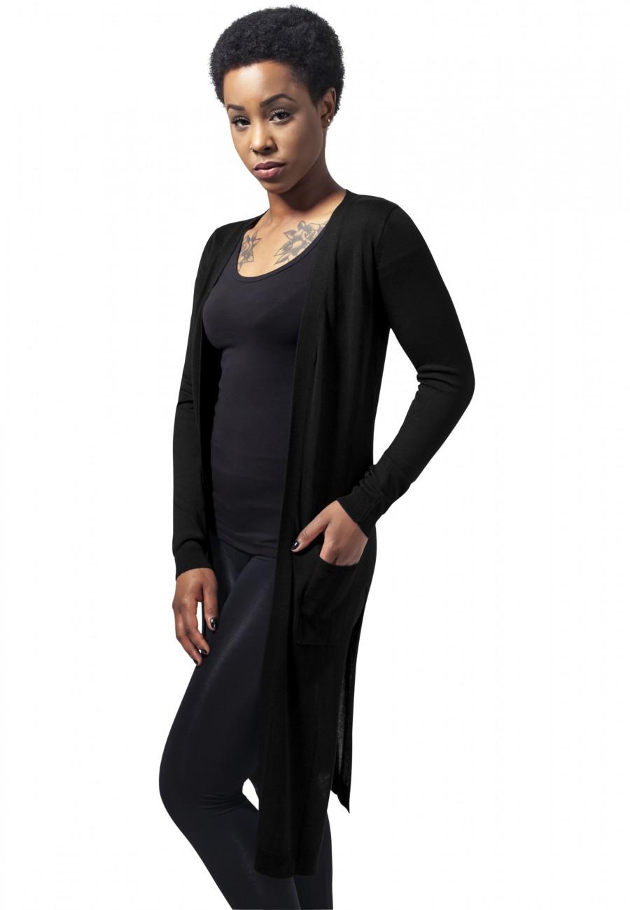 Urban Classics Damen Strickjacke Ladies Fine Knit Long Cardigan XS, Black (00007)