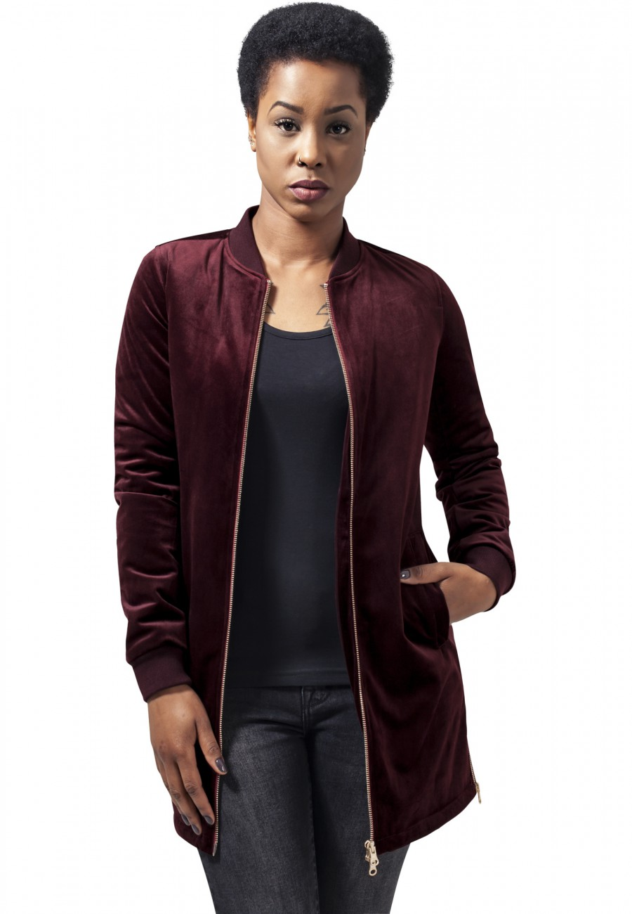 Urban Classics Damen Jacke Ladies Long Velvet Jacket
