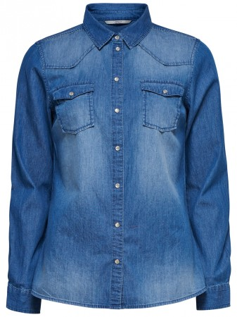Only Damen Jeanshemd onlALWAYSROCK IT FIT  SHIRT WVN - Blau - Dark Blue Denim