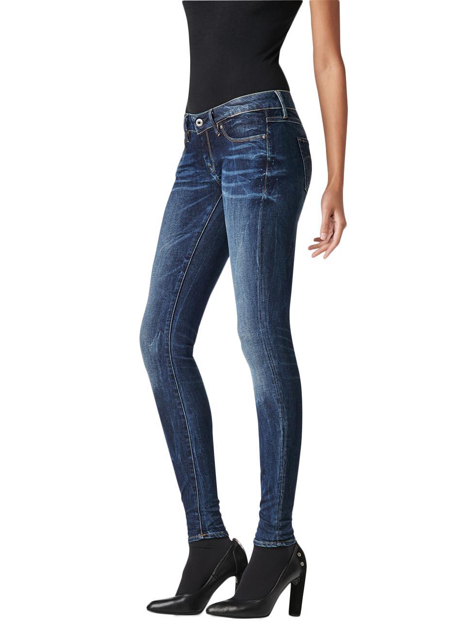 g star damen jeans 3301 low super skinny blau dark aged kaufen jeans direct de. Black Bedroom Furniture Sets. Home Design Ideas