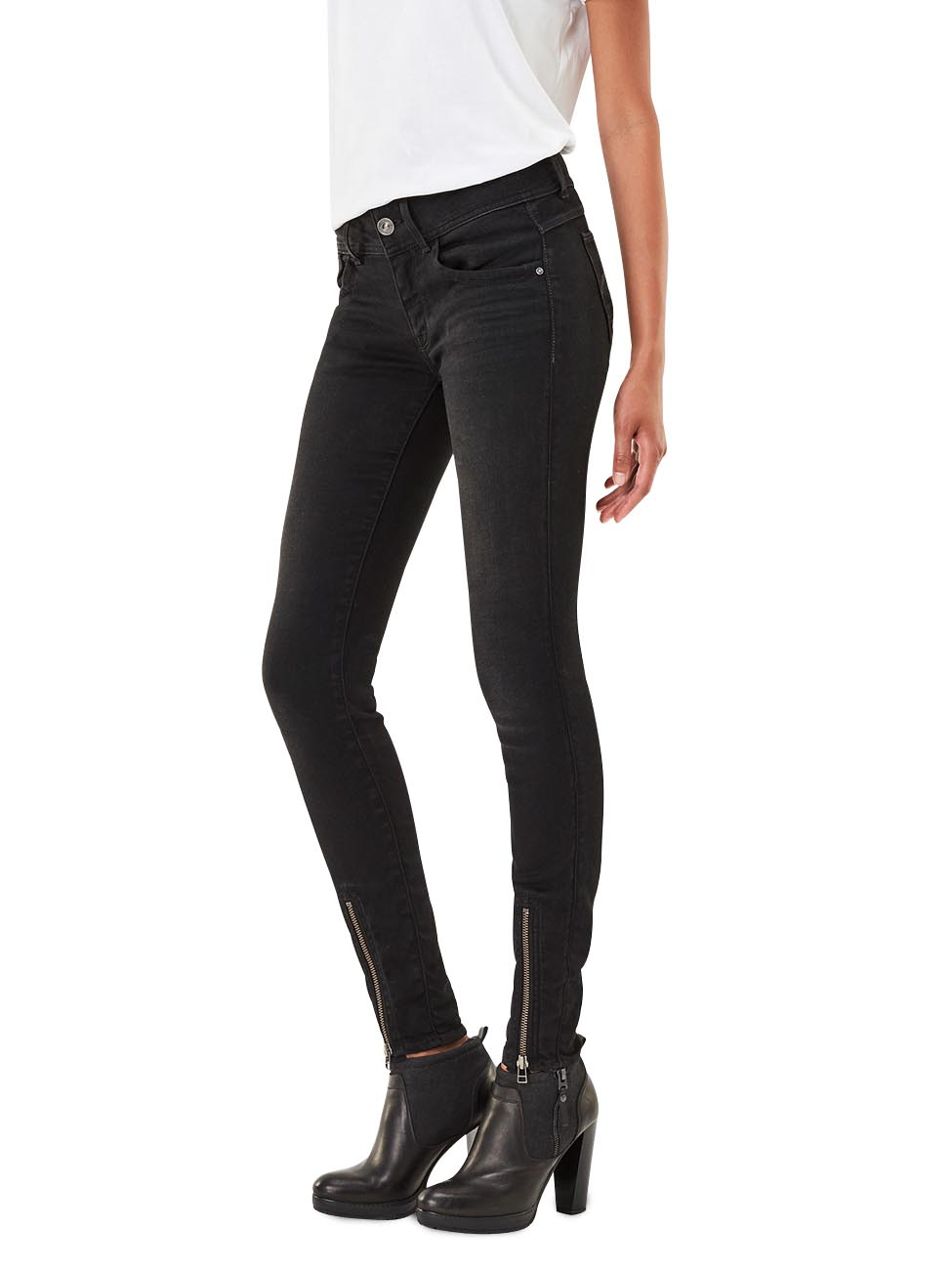 g star damen jeans lynn zip grip mid waist skinny fit. Black Bedroom Furniture Sets. Home Design Ideas