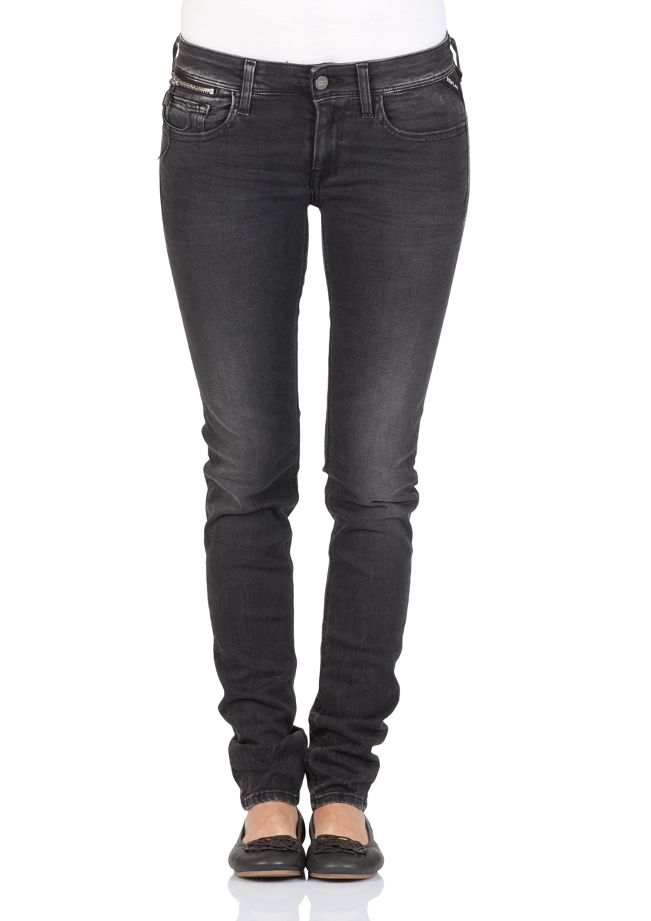 replay damen jeans luz coin zip skinny fit schwarz black denim ebay. Black Bedroom Furniture Sets. Home Design Ideas
