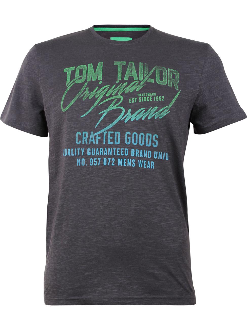 Tom Tailor Herren T-Shirt mit Wording Print L, Tarmac Grey (2983)