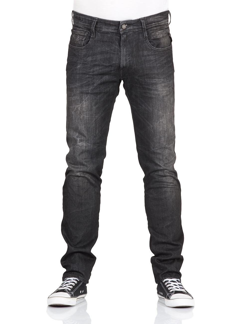 replay herren jeans anbass slim fit schwarz black denim ebay. Black Bedroom Furniture Sets. Home Design Ideas