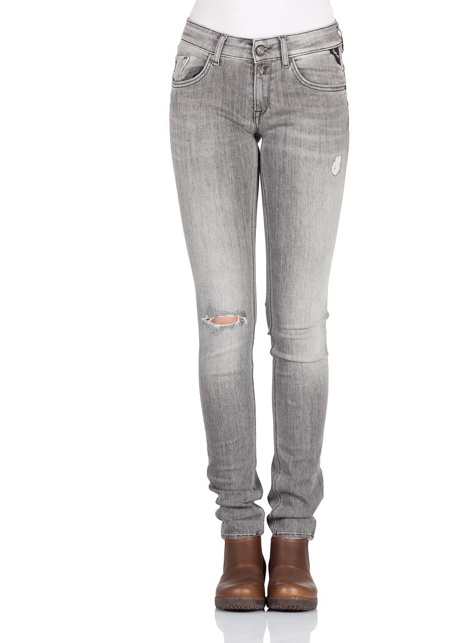 replay damen jeans luz back zip skinny fit grau grey. Black Bedroom Furniture Sets. Home Design Ideas