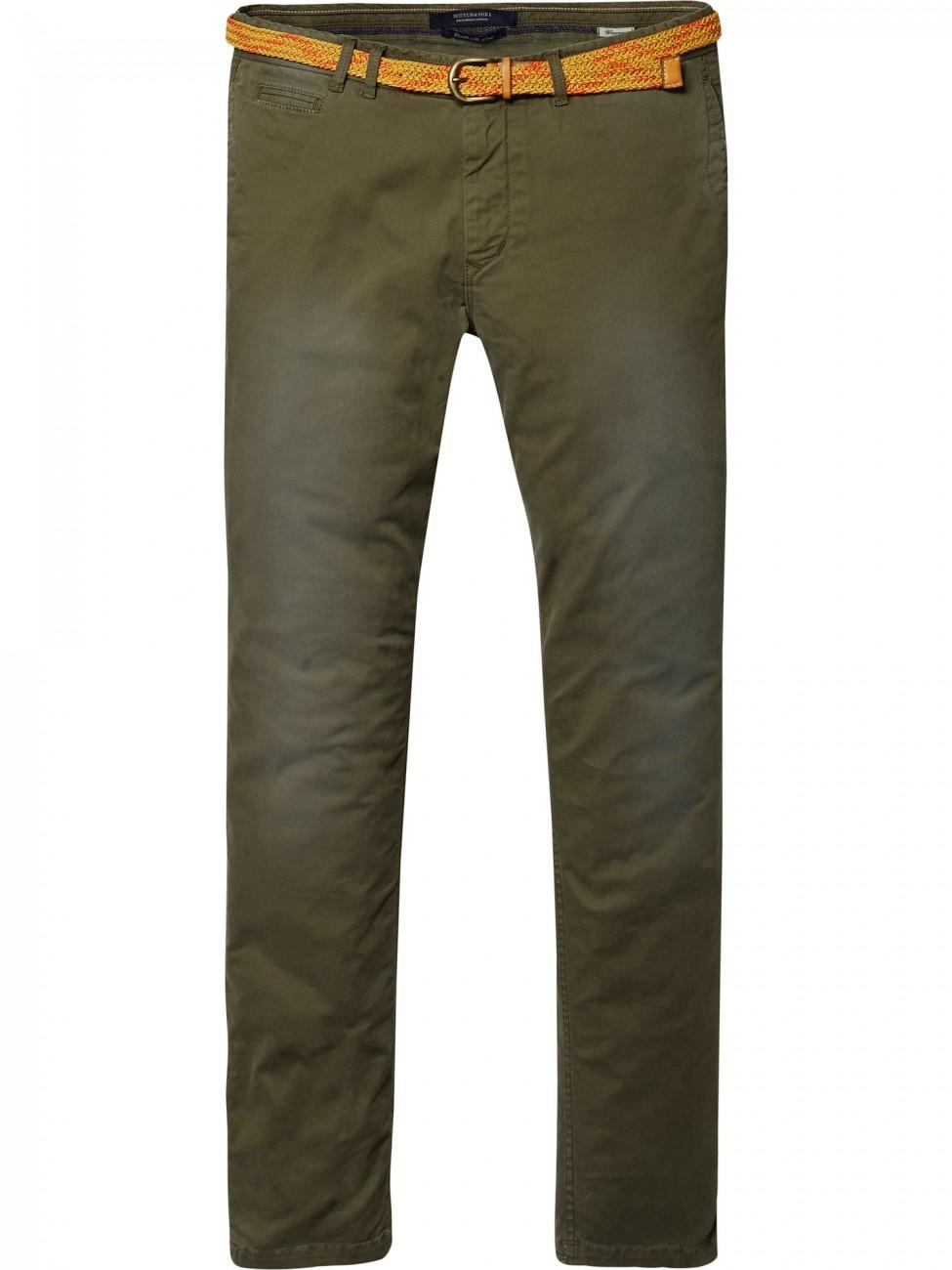 Scotch & Soda Herren Chino Hose Garment Dyed - Slim Fit - Grün - Military