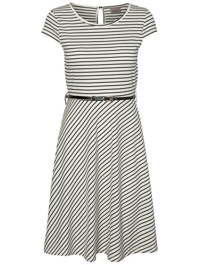 Vero Moda Damen Kleid VMVIGGA FLAIR CAPSLEEVE DRESS XL, Snow White - Stripes BLACK