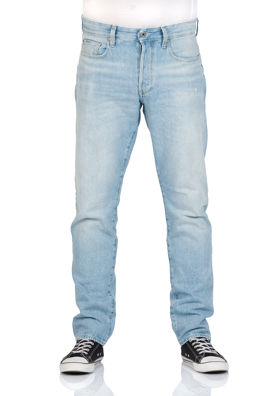 g star herren jeans 3301 tapered fit blau vintage