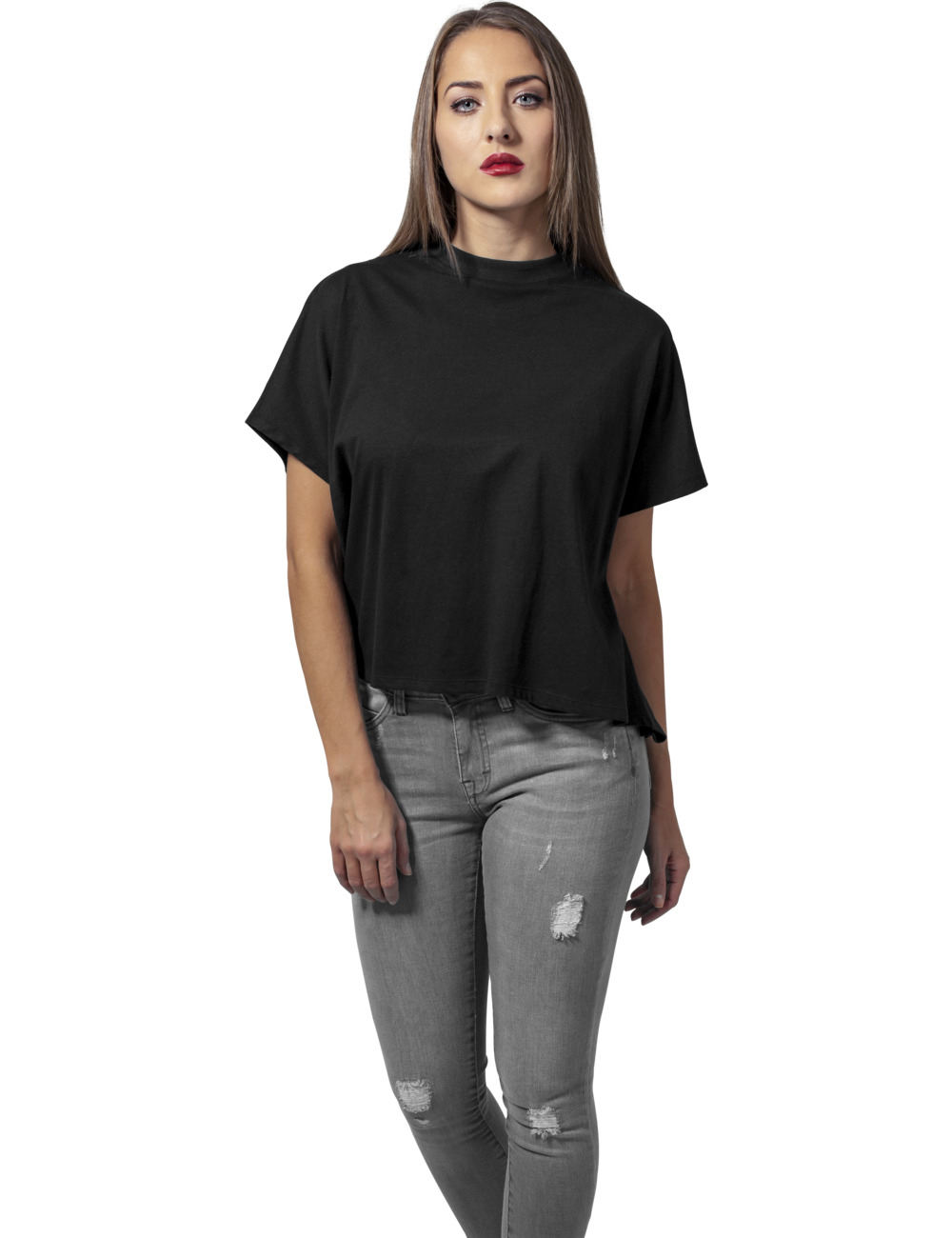 Urban classics damen shirt ladies overlap turtleneck tee for Turtleneck under t shirt