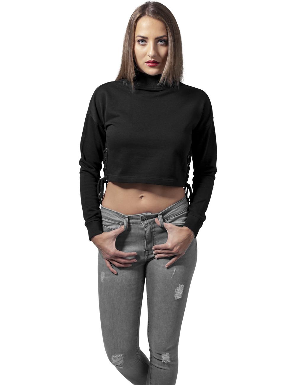 Urban Classics Damen Sweater Lace Up Crewneck L, Black (20007)