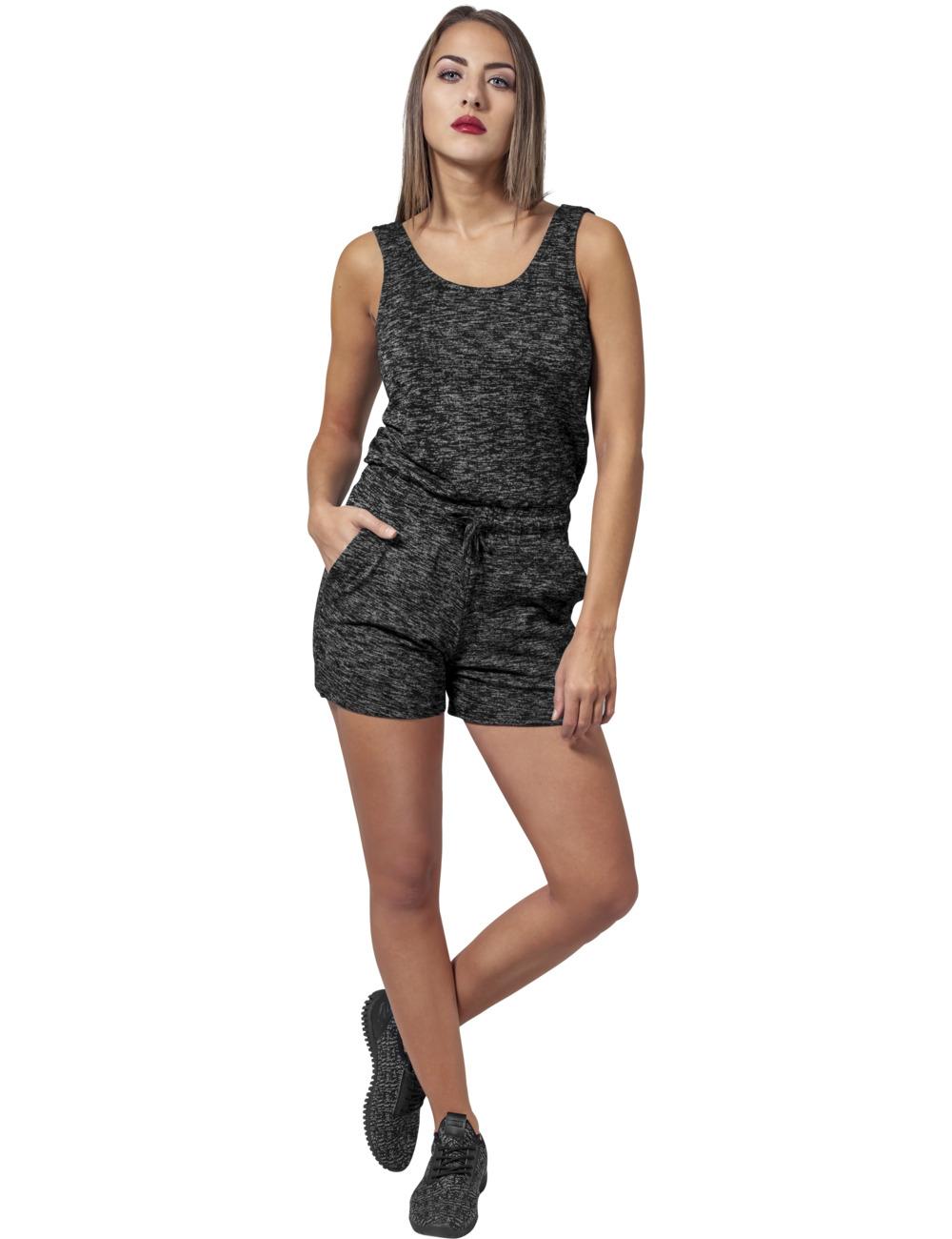 Urban Classics Damen Melange Hot Jumpsuit XL, darkgrey/grey (20488)