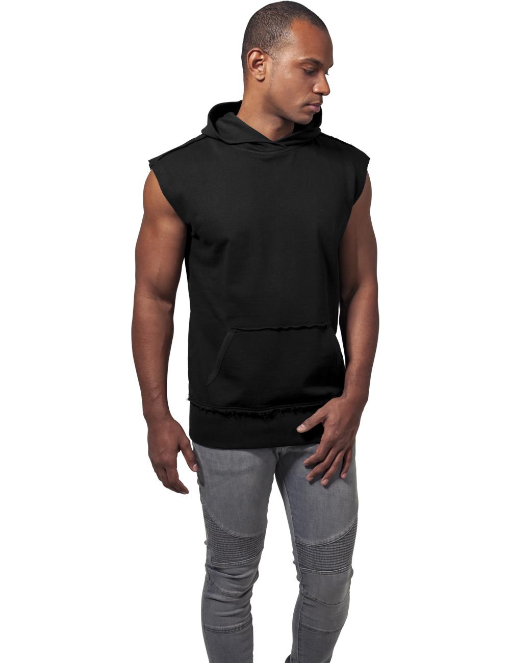 Urban Classics Herren Kapuzensweater Open Edge Sleeveless Hoody XL, Black (007)