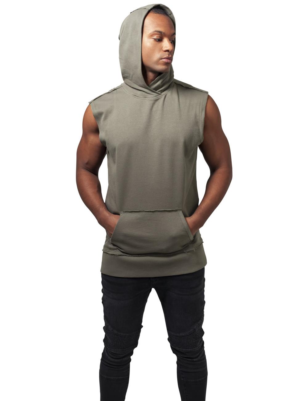 Urban Classics Herren Kapuzensweater Open Edge Sleeveless Hoody XL, Olive (176)