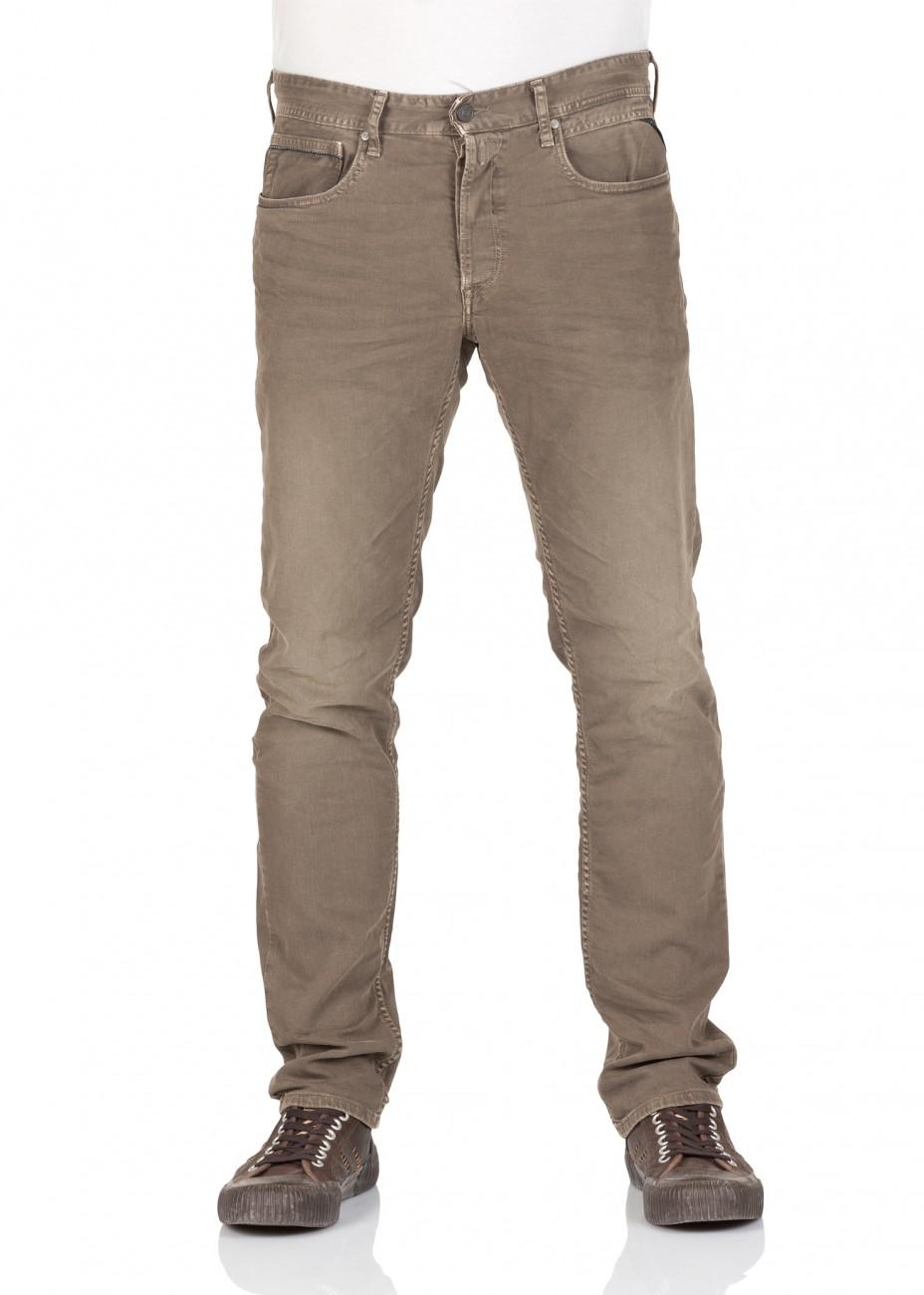 replay herren jeans grover straight fit slim leg braun mud ebay. Black Bedroom Furniture Sets. Home Design Ideas