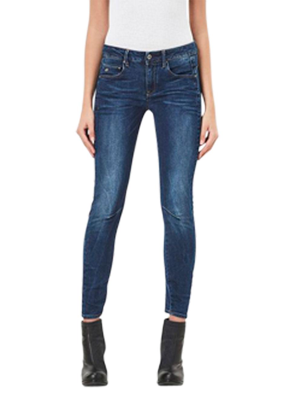 g star damen jeans arc 3d mid waist skinny fit blau medium aged kaufen jeans direct de. Black Bedroom Furniture Sets. Home Design Ideas