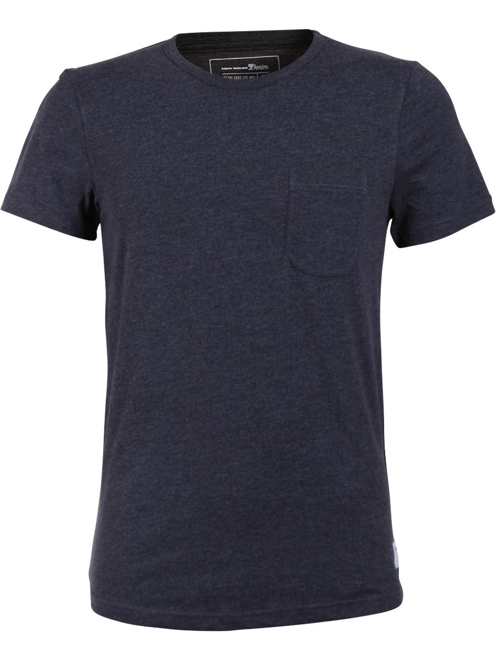 tom tailor denim herren t shirt crewneck mit tasche ebay. Black Bedroom Furniture Sets. Home Design Ideas