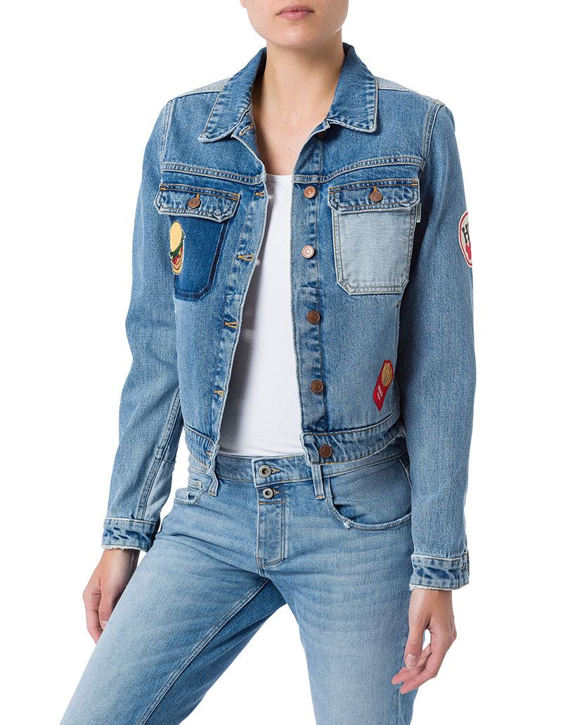 cross damen jeansjacke mit patches blau light mid blue. Black Bedroom Furniture Sets. Home Design Ideas
