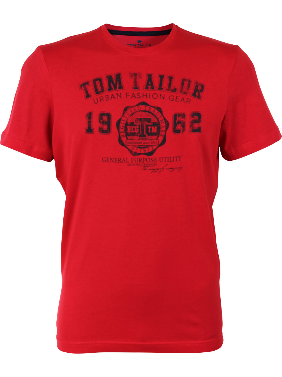 Tom Tailor Herren T-Shirt Basic mit Logo L, Intense Red (4467)