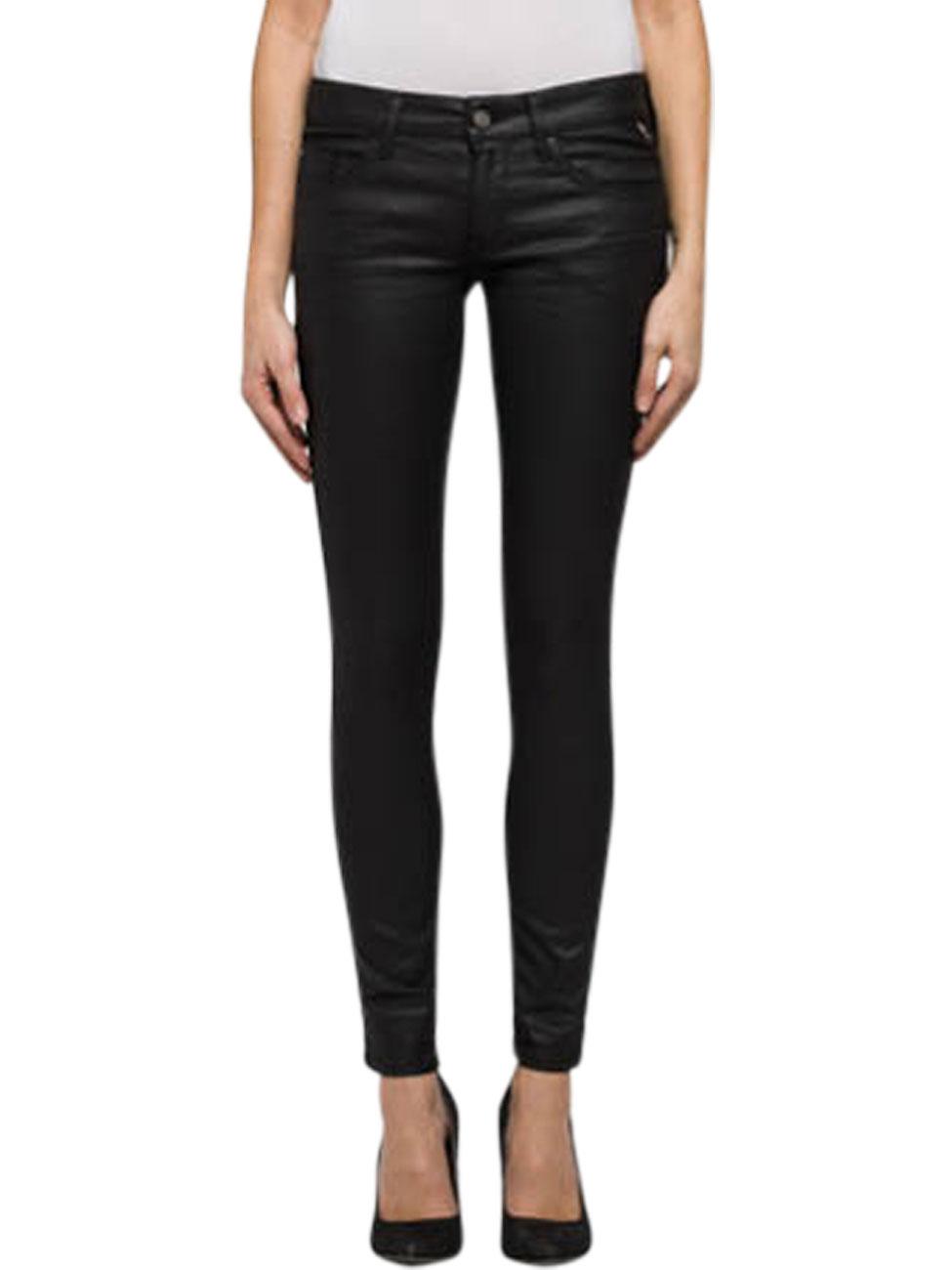 replay damen jeans luz back zip skinny fit schwarz. Black Bedroom Furniture Sets. Home Design Ideas