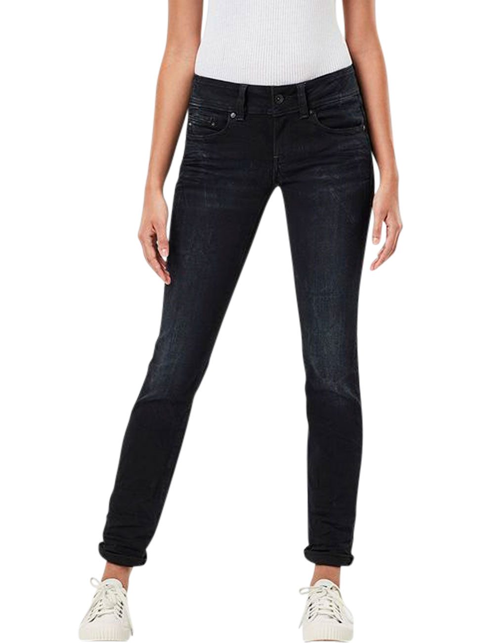 g star damen jeans midge saddle straight fit blau. Black Bedroom Furniture Sets. Home Design Ideas