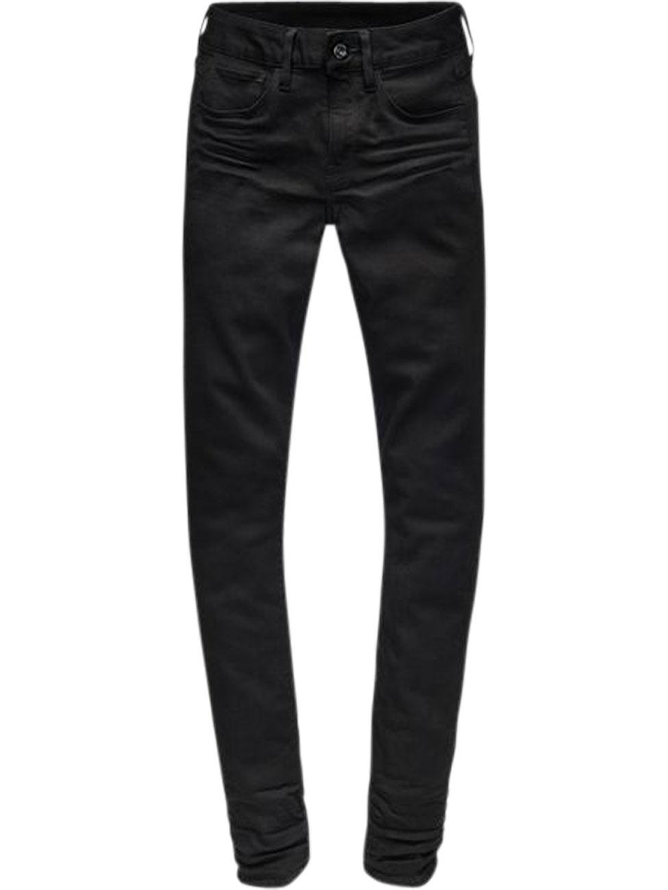 G-Star Damen Jeans 3301 Deconstructed Mid Waist Straight Fit - Schwarz -  Rinsed