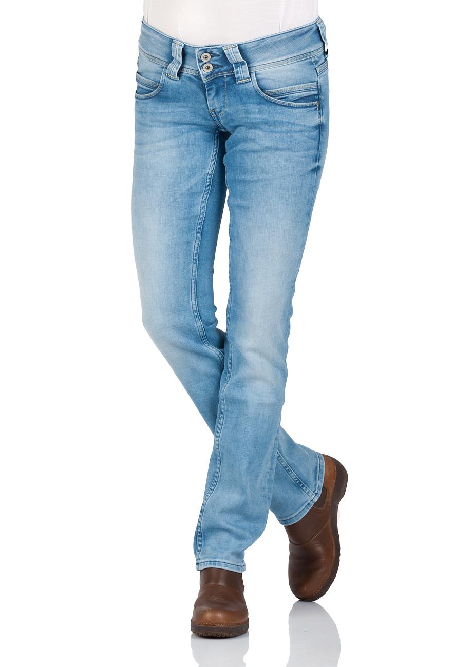 Pepe Jeans Damen Jeans Venus - Regular Fit - Blau - Light Blue Denim 358453f5a0
