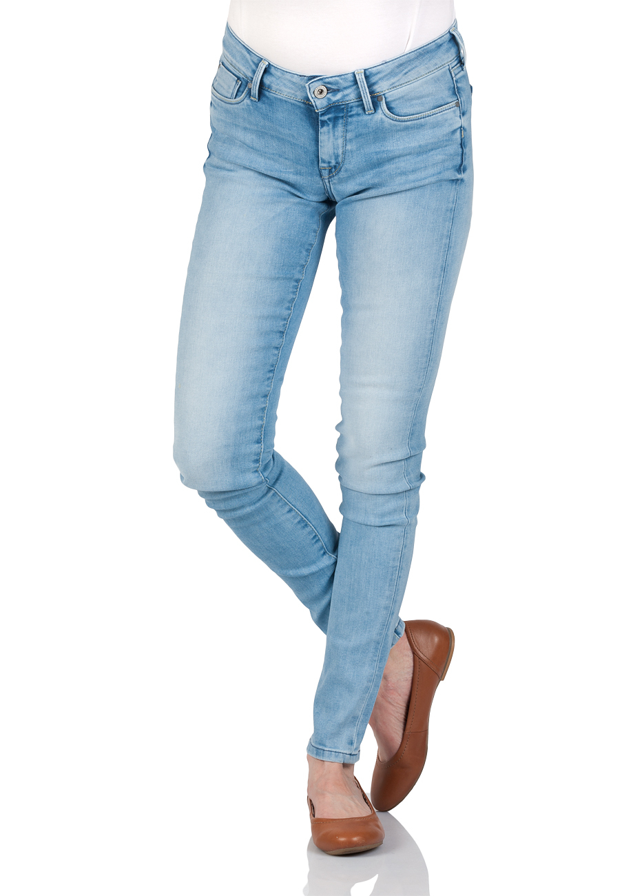 Pepe Jeans Damen Jeans Soho - Regular Fit - Blau - Light Blue Denim
