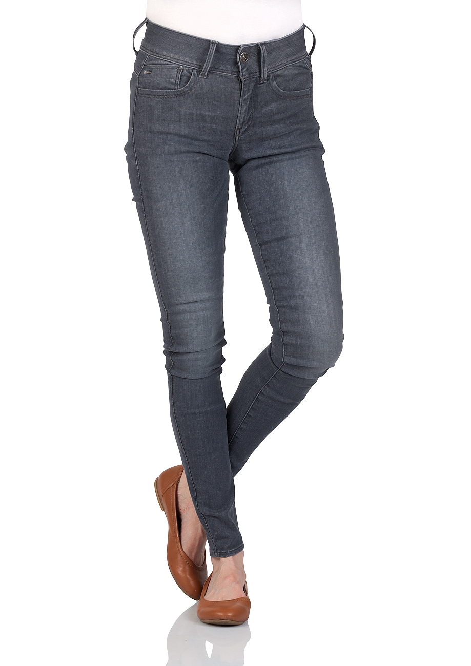 g star damen jeans lynn mid waist super skinny grau. Black Bedroom Furniture Sets. Home Design Ideas