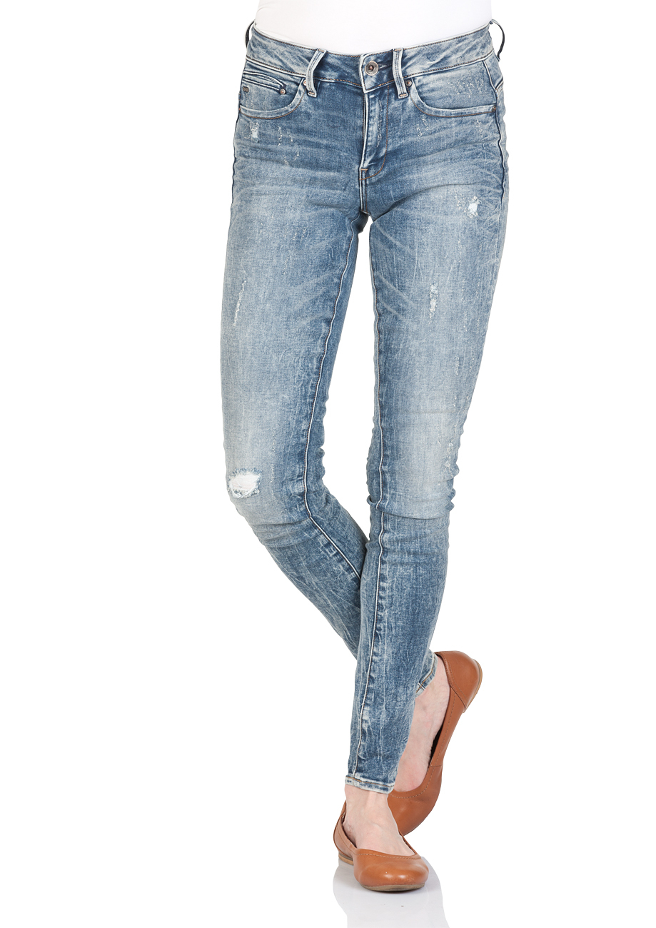 g star damen jeans midge zip mid waist skinny fit blau vintage aged destroyed kaufen. Black Bedroom Furniture Sets. Home Design Ideas