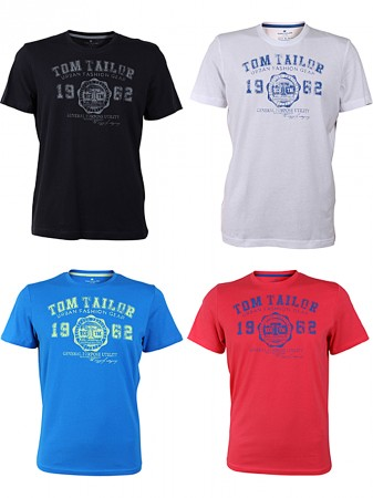 on sale e1cb3 e0f50 Details about Tom Tailor round Neck T-Shirt Logo Various Colours+Colours  Pack of 4