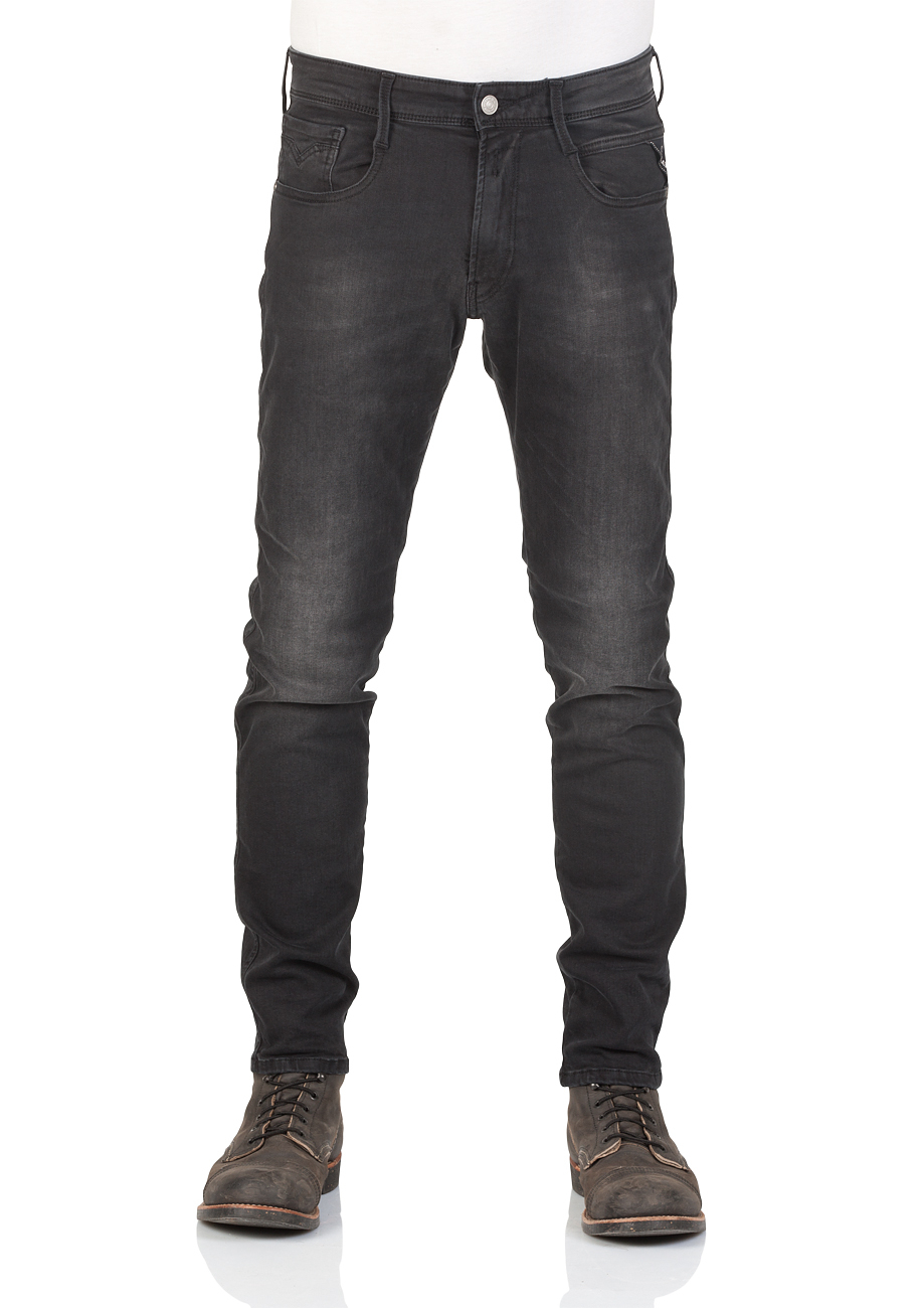 replay herren jeans anbass slim fit schwarz black denim kaufen jeans direct de. Black Bedroom Furniture Sets. Home Design Ideas