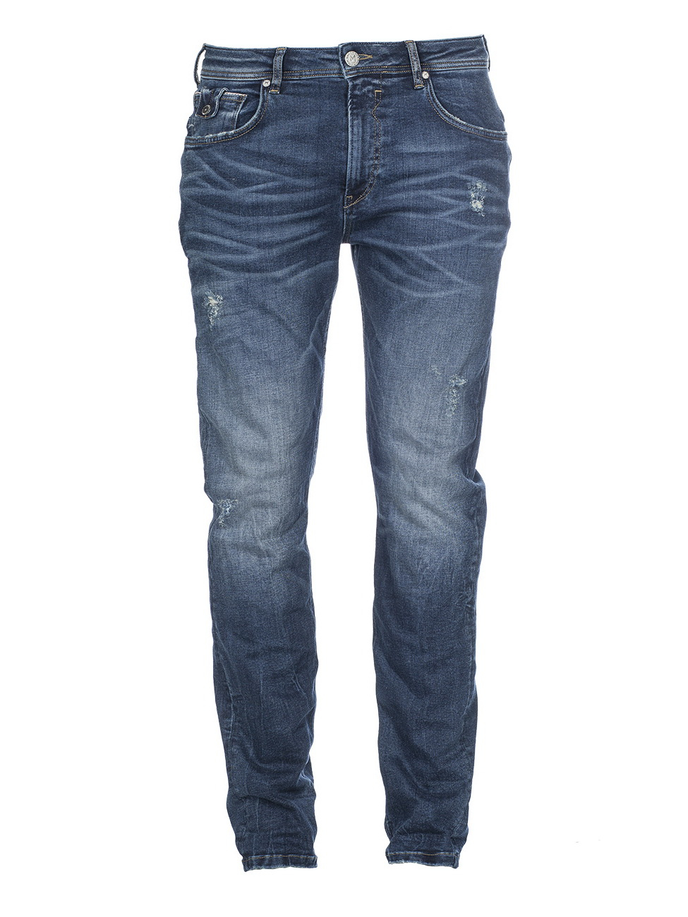 MOD Herren Jeans Ricardo - Slim Fit - Blau - Messina Blue Destroyed