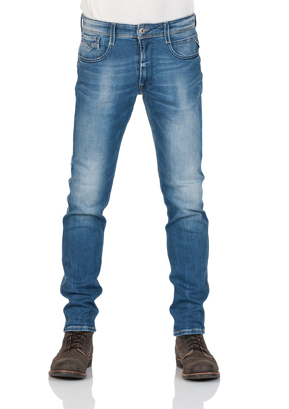 Replay Herren Jeans Anbass - Slim Fit - Blau - Mid Blue Denim