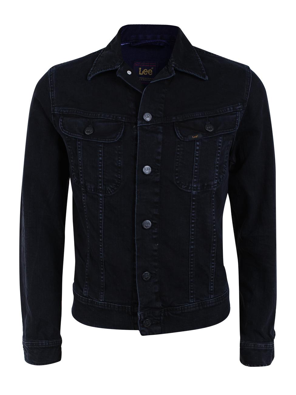 lee herren jeansjacke slim rider slim fit schwarz dark raven ebay. Black Bedroom Furniture Sets. Home Design Ideas