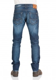 00b97579317 Couper étroitement jeans pour hommes avec jambe étroite cours et  moyen-taille avec fermeture éclair replay