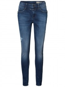 Vero Moda Damen Jeans VMSEVEN MR SLIM ZIPJEAN BA315 - Slim Fit - Blau - Medium Blue